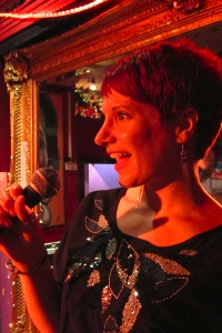 Professional vocalist Lisa Lee sings live at a pub/club venue.